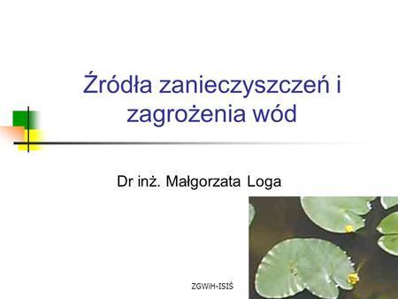 ZGWiH-ISIŚ Źródła zanieczyszczeń i zagrożenia wód Dr inż. Małgorzata Loga.