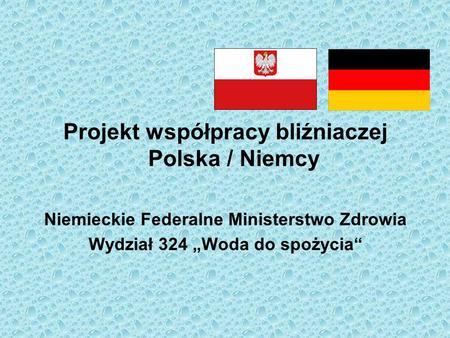 Projekt współpracy bliźniaczej Polska / Niemcy Niemieckie Federalne Ministerstwo Zdrowia Wydział 324 Woda do spożycia.