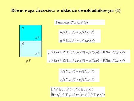 Równowaga ciecz-ciecz w układzie dwuskładnikowym (1)