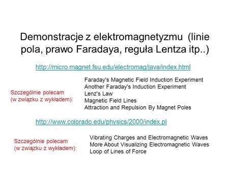 Demonstracje z elektromagnetyzmu (linie pola, prawo Faradaya, reguła Lentza itp..)  Faraday's Magnetic.