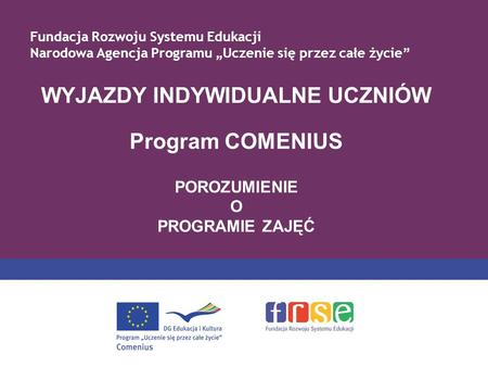 WYJAZDY INDYWIDUALNE UCZNIÓW Program COMENIUS POROZUMIENIE O PROGRAMIE ZAJĘĆ Fundacja Rozwoju Systemu Edukacji Narodowa Agencja Programu Uczenie się przez.