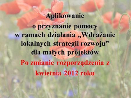 Aplikowanie o przyznanie pomocy w ramach działania Wdrażanie lokalnych strategii rozwoju dla małych projektów Po zmianie rozporządzenia z kwietnia 2012.