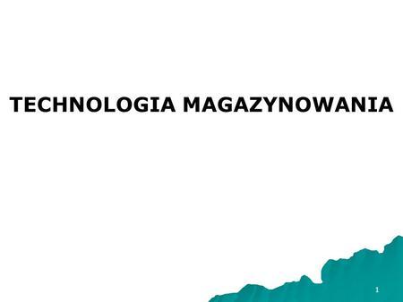 1 TECHNOLOGIA MAGAZYNOWANIA. 2 Literatura: 1. Z. Dudziński, M. Kizyn, Vademecum gospodarki magazynowej, wyd. oddk, Gdańsk 2002. 2. Z. Dudziński, M. Kizyn,