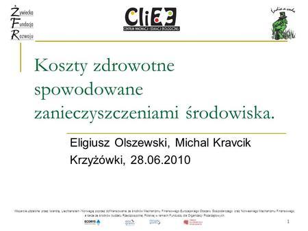 1 Koszty zdrowotne spowodowane zanieczyszczeniami środowiska. Eligiusz Olszewski, Michal Kravcik Krzyżówki, 28.06.2010 Wsparcie udzielone przez Islandię,