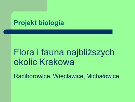 Projekt biologia Flora i fauna najbliższych okolic Krakowa Raciborowice, Więcławice, Michałowice.