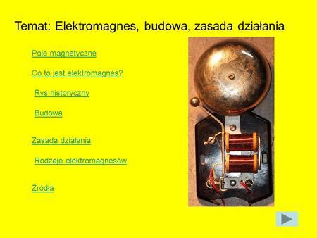 Temat: Elektromagnes, budowa, zasada działania Pole magnetyczne Co to jest elektromagnes? Rys historyczny Budowa Zasada działania Rodzaje elektromagnesów.