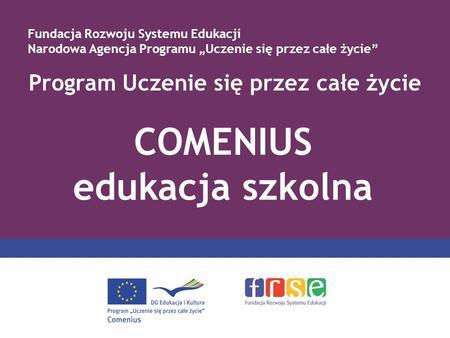 Program Uczenie się przez całe życie COMENIUS edukacja szkolna Fundacja Rozwoju Systemu Edukacji Narodowa Agencja Programu Uczenie się przez całe życie.