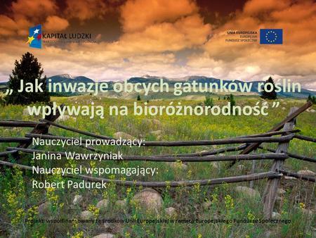""""""" Jak inwazje obcych gatunków roślin wpływają na bioróżnorodność """" Nauczyciel prowadzący: Janina Wawrzyniak Nauczyciel wspomagający: Robert Padurek Projekt."""