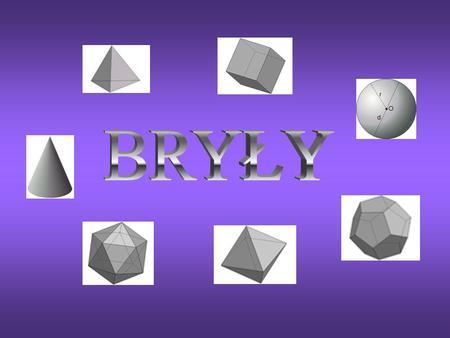1. Bryły obrotowe: - stożek - walec - kula 2. Wielościany: a) ostrosłup: - ostrosłup prawidłowy - czworościan foremny b) graniastosłupy: - graniastosłup.