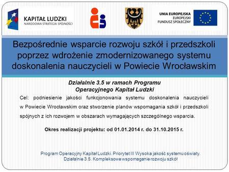 Program Operacyjny Kapitał Ludzki. Priorytet III Wysoka jakość systemu oświaty. Działalnie 3.5. Kompleksowe wspomaganie rozwoju szkół Bezpośrednie wsparcie.