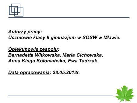 1 Autorzy pracy: Uczniowie klasy II gimnazjum w SOSW w Mławie. Opiekunowie zespołu: Bernadetta Witkowska, Maria Cichowska, Anna Kinga Kołomańska, Ewa Tadrzak.